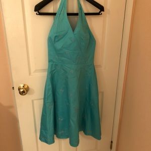 Ann Taylor Turquoise Embroidered  Halter Dress